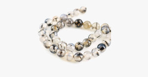 Black White Texture Onyx Chalcedony Beads Bracelet/Necklace - FREE SHIP DEALS