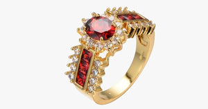 Gold Plated Crimson Garnet Ring - FREE SHIP DEALS
