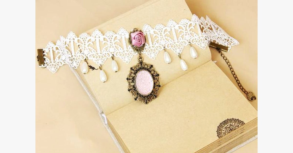 Pink Rose Choker Necklace