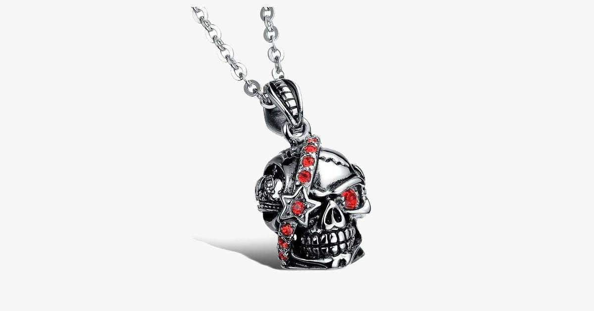 Bloody Stainless Steel and Cubic Zirconia Skull Pendant - FREE SHIP DEALS