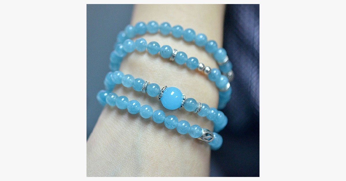 Blue Agate Beaded Aquamarine Bracelet - FREE SHIP DEALS