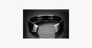 Genuine Leather Bold Men's Stainless Steel Bracelet