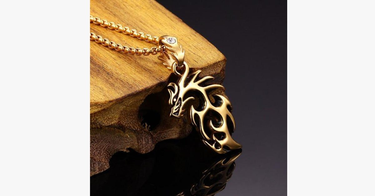 Gold Plated Stainless Steel Vintage Dragon - FREE SHIP DEALS