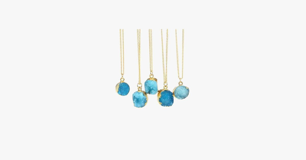 Blue Druzy Stone Necklace - FREE SHIP DEALS