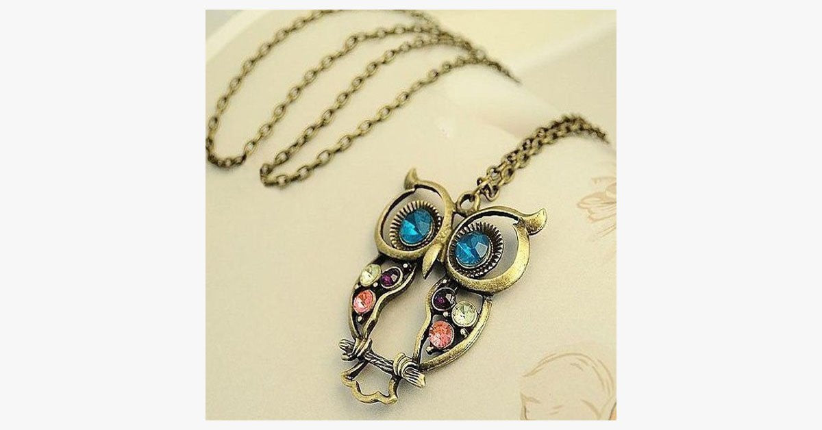 Blue Eyes Owl Pendant - FREE SHIP DEALS