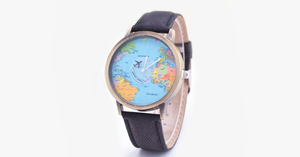 Denim World Map Watch - FREE SHIP DEALS