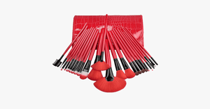 24 Piece Royal Red Make Up Brush Set - FREE SHIP DEALS