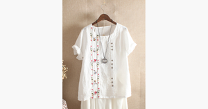 Bohemian Embroidery Floral Short Sleeve Blouse