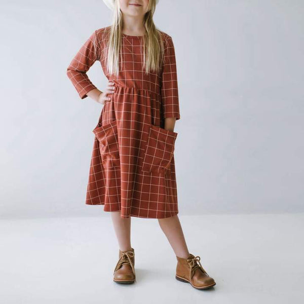 Youth Clementine Dress Grid on Brick