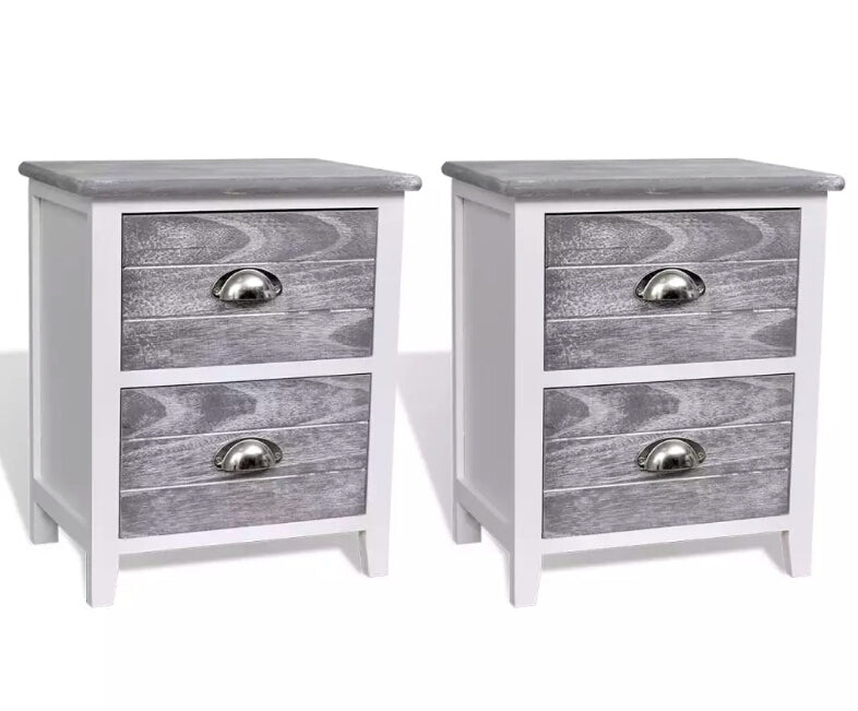 vidaXL Nightstand 2 pcs with 2 Drawers Grey and White  242041