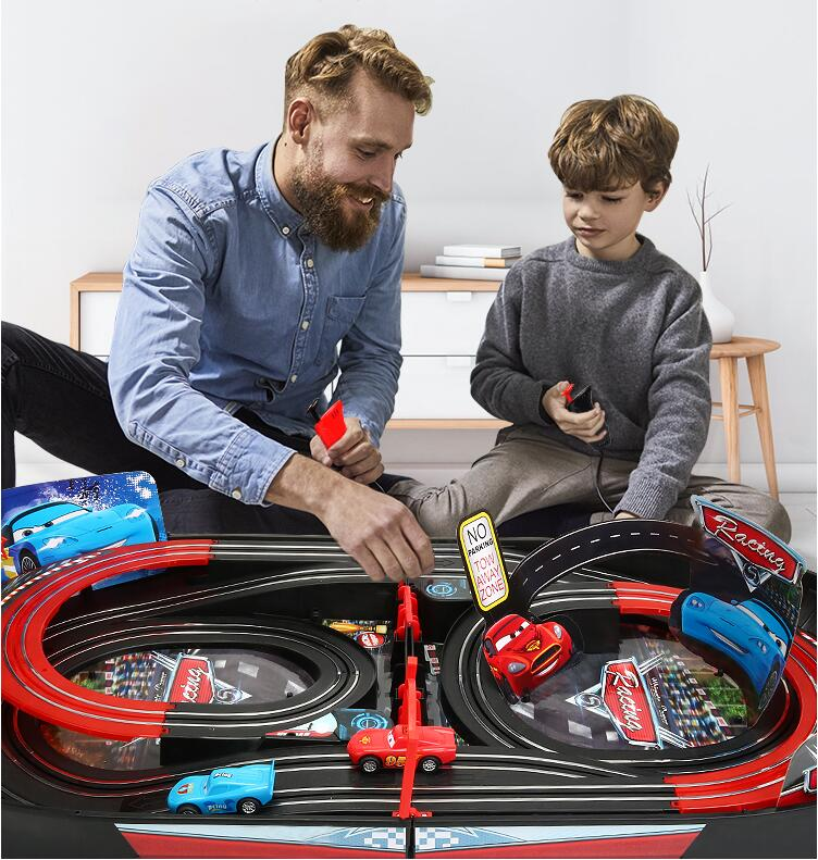 Boys Remote Control Rail Car Racing Lightning McQueen Toy