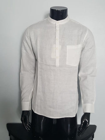 Men's Kurta Tunic Banded Collar 100% Hemp Shirt Nepal