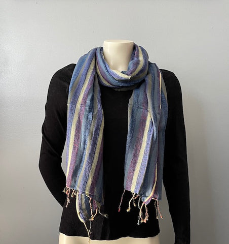 Hemp Scarf | Organic | Hand-loomed |Eco-friendly | Colourful stripes
