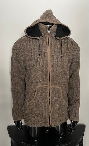 Woollen fleece lined hooded sweater