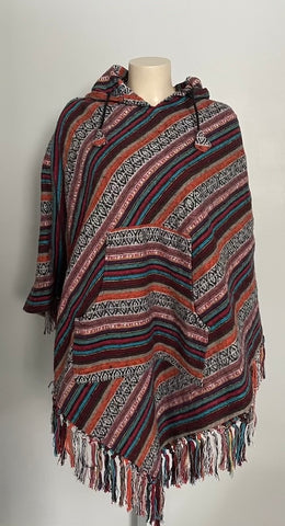 Hand Woven Warm Himalayan Cotton V Shaped Hooded Poncho with pocket in front