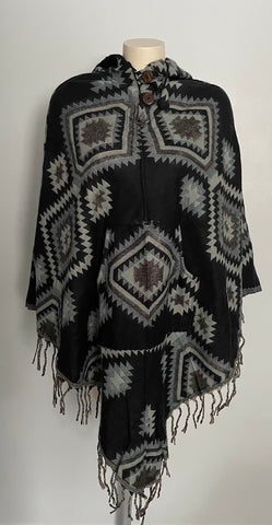 Warm Himalayan Wool V shaped Hooded Poncho with pocket in front