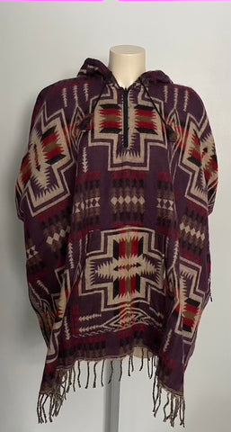 Warm Himalayan Wool Hooded Poncho with pocket in front