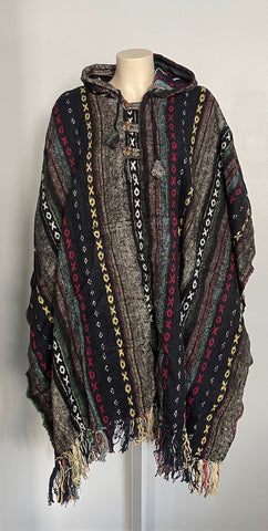 Hand Woven Warm Himalayan Cotton Hooded Poncho with pocket in front
