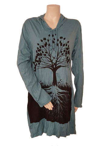 Tree of Life Hoodie Dress Turquoise