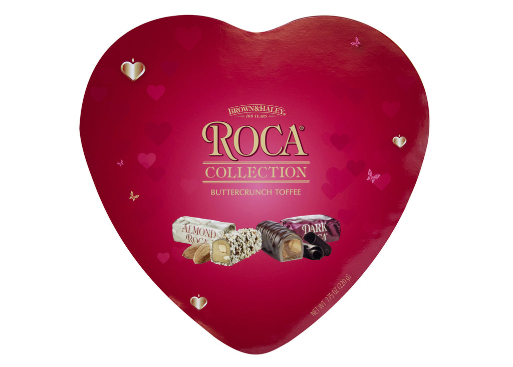 7.75 oz ROCA Collection Heart Tin ALMOND & DARK ROCA