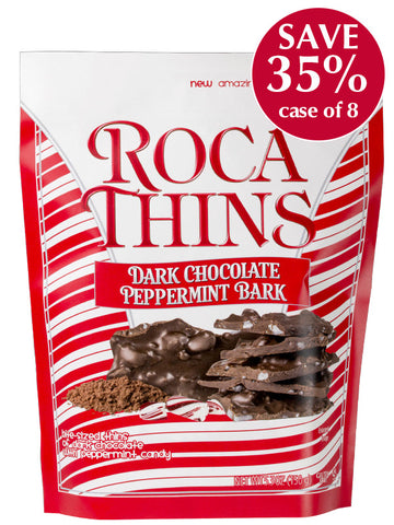 5.3 oz Dark Chocolate Peppermint ROCA THINS - case of 8 pouches