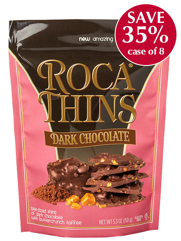 5.3 oz Dark Chocolate ROCA THINS - case of 8 pouches
