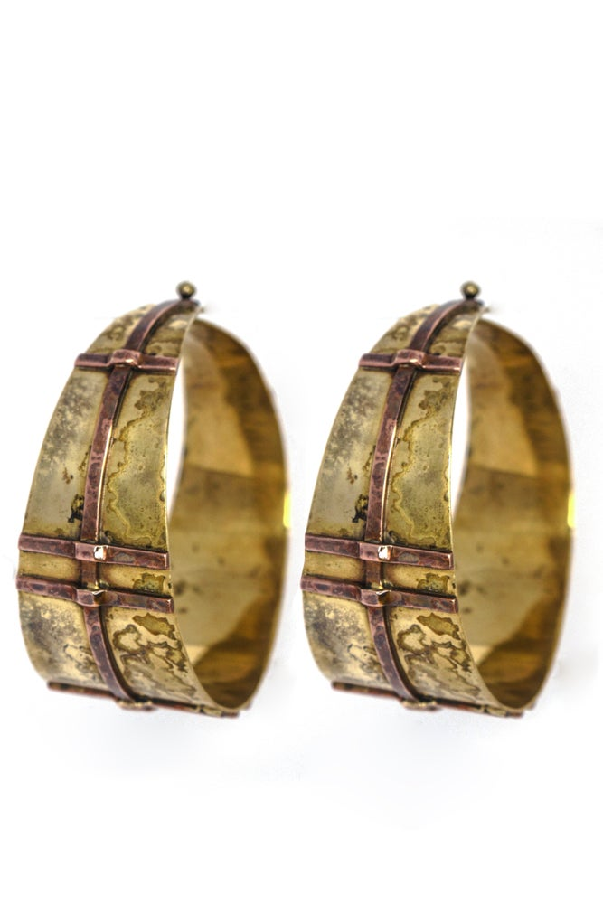 Manakee Nhovo - Brass w Copper Overlay Earring by Manaka Collection