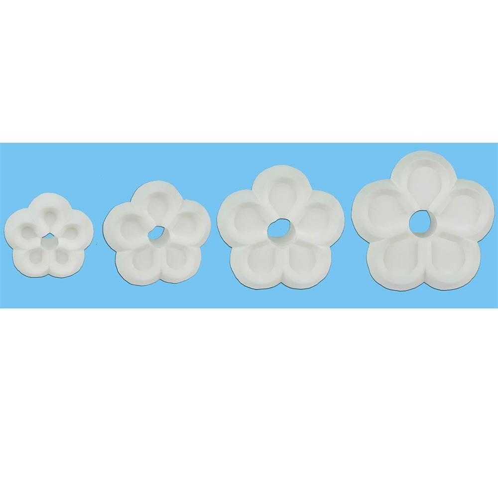 Non Stick Plastic Cutters 5 Petal - set of 4 - Blossom Sugar Art cake_decorating_mold craft_mold icing_flowers