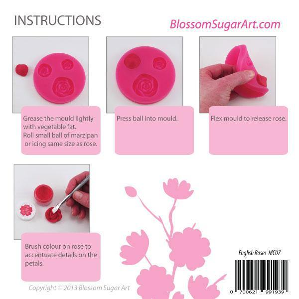 English Rose Mould - Blossom Sugar Art cake_decorating_mold craft_mold icing_flowers