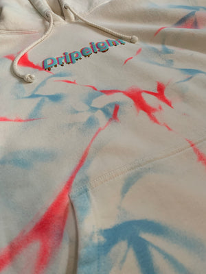 BRIGHT RED AND BLUE TIE DYE