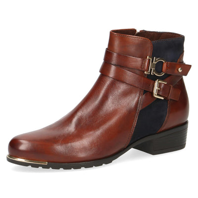 Caprice, Nancy, dark brown and navy ankle boots