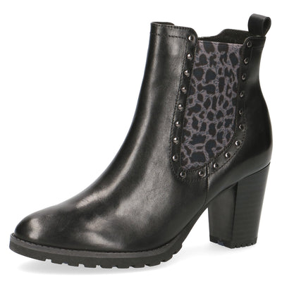 Caprice, Black leo comb, leather ankle boot
