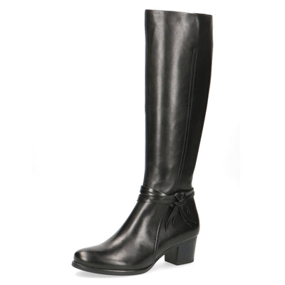 Caprice, Jill, black leather knee high boot
