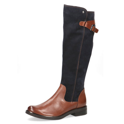 Caprice, Lexi, dark brown and navy knee high boot