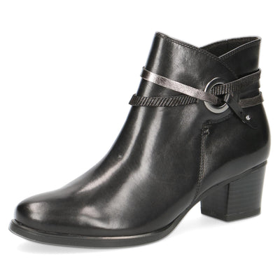 Caprice, Matilda, black leather ankle boot