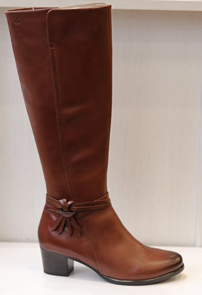 Caprice Jill, brown knee high leather boot