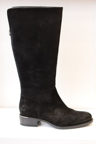 Alpe, baby silk negro, black suede knee high boot