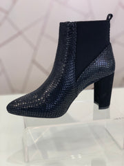 Hengst, black faux snake skin ankle boot