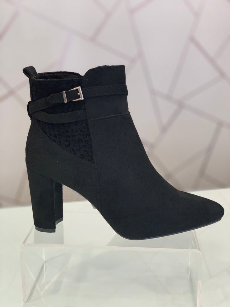 Hengst, black faux suede ankle boot