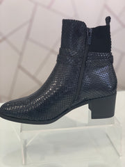 Hengst, black faux snake skin casual ankle boot