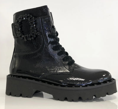 Alpe, black chunky ankle boots