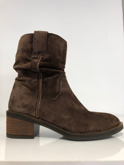 Alpe, brown suede slip on ankle boots
