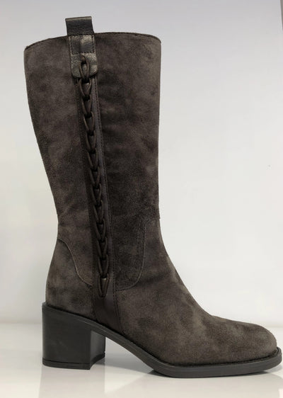 Alpe, grey suede calf high boots