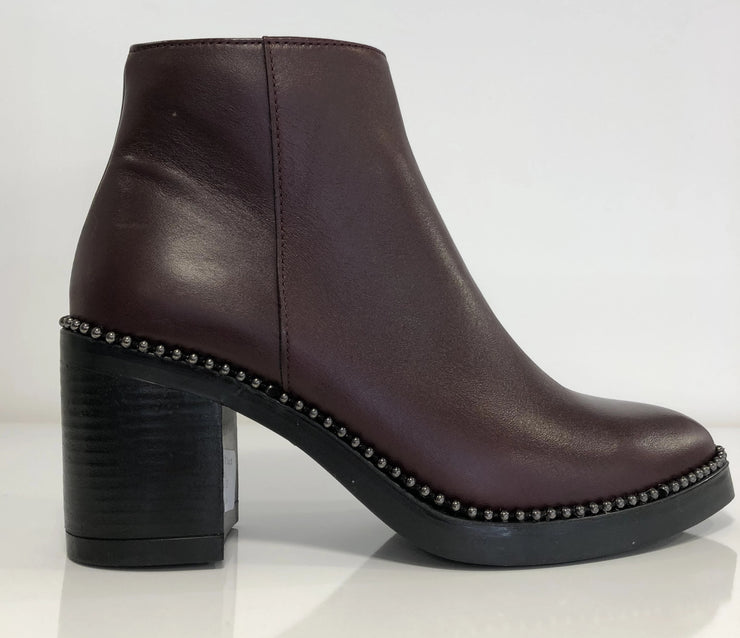 Alpe, burgundy leather ankle boot