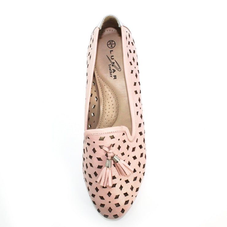 LUNAR | Alma III | Pink Leather Pump Tassle Loafer