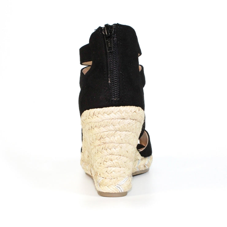 Lunar brodie black woman's suede wedge sandal - available at victoriagraceshoes.com | In Store 01670 511066 Victoria Grace Shoe Collection | Morpeth | 14 SANDERSONS ARCADE, Morpeth NE61 1NS