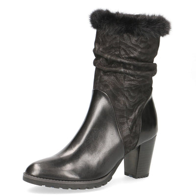 Caprice, Felicity, black leather high ankle boot
