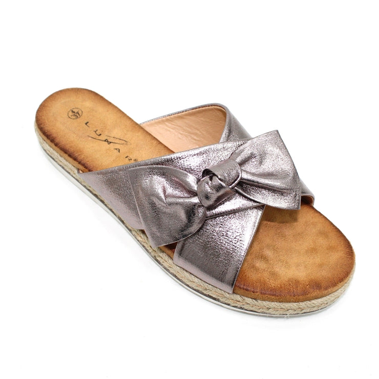 Lunar Rico | Ladies Double Strap Bow Sandal in Pewter - Available at victoriagraceshoes.com | In Store 01670 511066 Victoria Grace Shoe Collection | Morpeth | 14 SANDERSONS ARCADE, Morpeth NE61 1NS