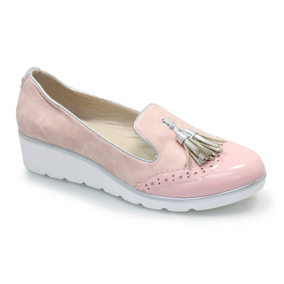 LUNAR Karina Ladies Pink Wedged Slip On Pump | Available at victoriagraceshoes.com | In Store 01670 511066 Victoria Grace Shoe Collection | Morpeth | 14 SANDERSONS ARCADE, Morpeth NE61 1NS