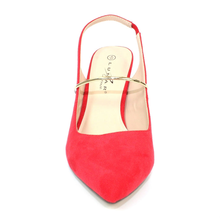 LUNAR Narla | Women's Gold Band Sling Back Shoe in Red | Available at victoriagraceshoes.com | In Store 01670 511066 Victoria Grace Shoe Collection | Morpeth | 14 SANDERSONS ARCADE, Morpeth NE61 1NS